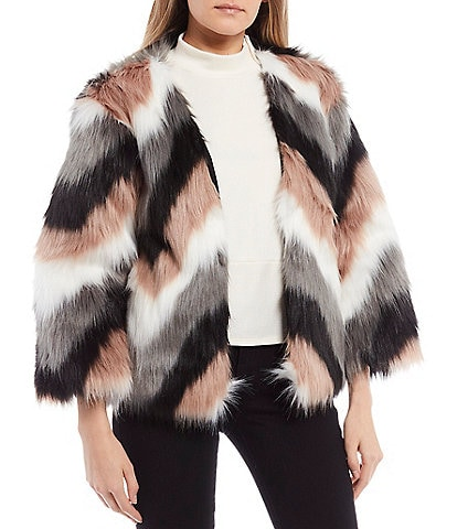 June & Hudson Chevron Stripe Cozy Faux Fur Jacket