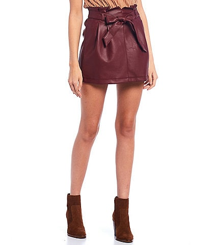 June & Hudson Coated Paperbag Waist Mini Skirt