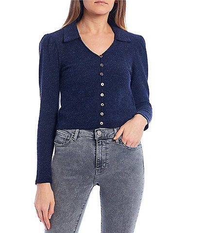 June & Hudson Collared Long-Sleeve Button-Front Cardigan
