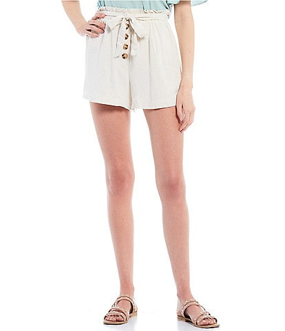 June & Hudson Coordinating Paperbag Waist Button Front Shorts