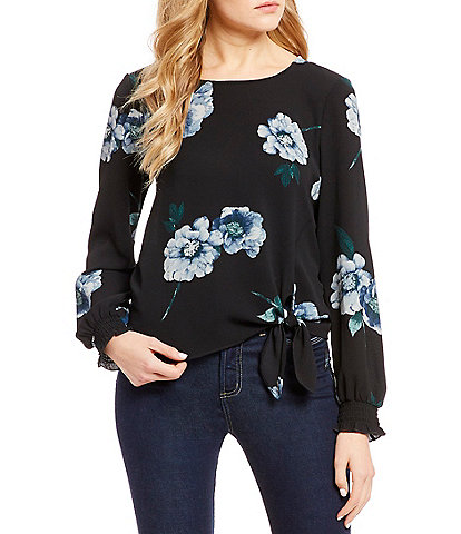 June & Hudson Floral Long Sleeve Tie Front Top