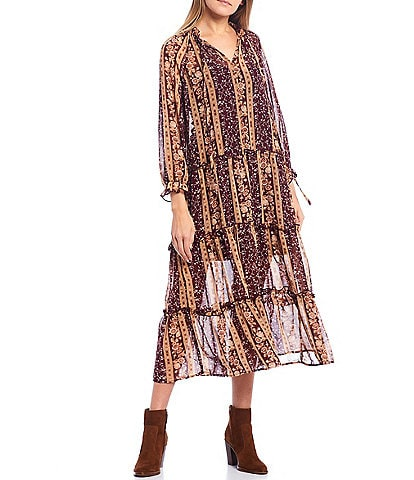 June & Hudson Floral Printed Long Sleeve Tiered Maxi Dress