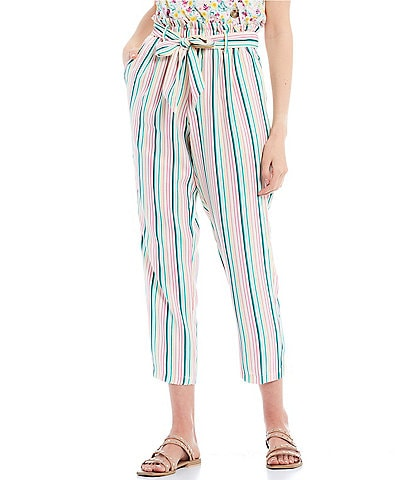 June & Hudson Stripe Paperbag Waist Pants