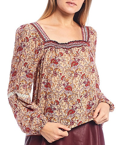 June & Hudson Twin Floral Print Long Balloon Sleeve Square Neck Top