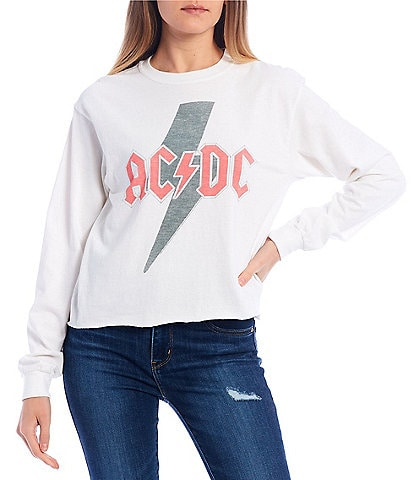 Junk Food AC/DC Lightning Bolt Long Sleeve Cropped Top