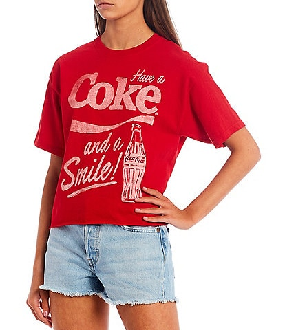 Junk Food Have A Coke Short Sleeve Cropped Graphic Tee