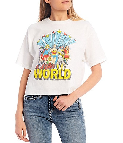 Junk Food It's A Girls World Short Sleeve Cropped Graphic Tee