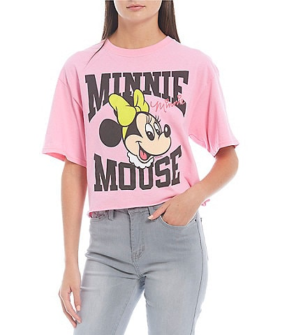 Junk Food Minnie Mouse Short Sleeve Cropped Graphic Tee