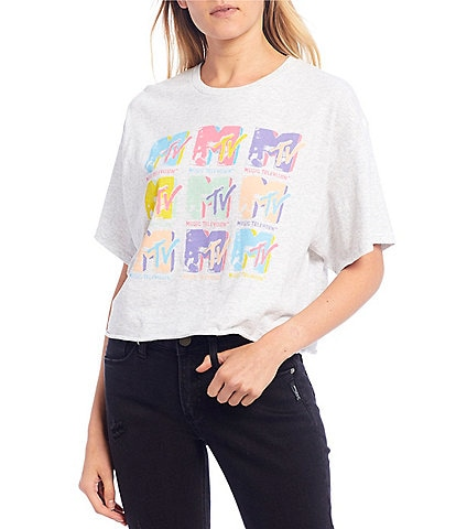 Junk Food MTV Logo Graphic Cropped Tee
