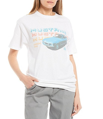 Junk Food Mustang Stacked Logo Graphic Tee