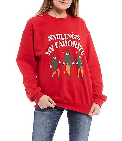 Junk Food Smiling Is My Favorite Long Sleeve Fleece Pullover