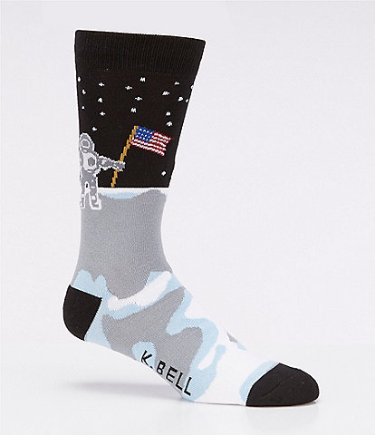 K. Bell Novelty Man On The Moon Crew Socks