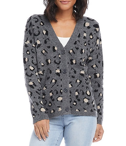 Karen Kane Animal Print Long Sleeve Button Front Cardigan
