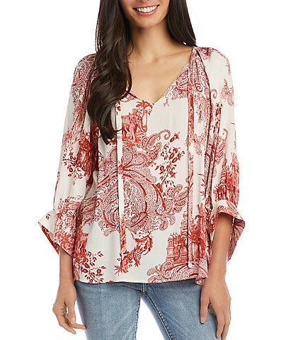 Karen Kane Blouson Sleeve V-Neck Printed Peasant Top