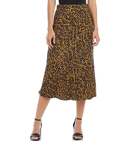 Karen Kane Bold Abstract Leopard Print Midi Pull-On Skirt