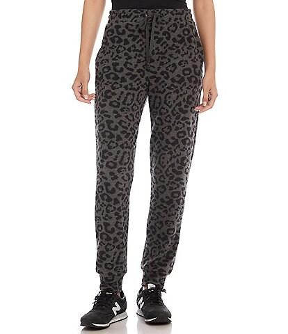 Karen Kane Brushed Knit Drawstring High Rise Leopard Print Coordinating Joggers