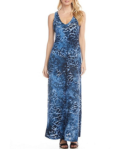 Karen Kane Burnout Ombre Stained Glass V-Neck Sleeveless Side Slit Maxi Dress