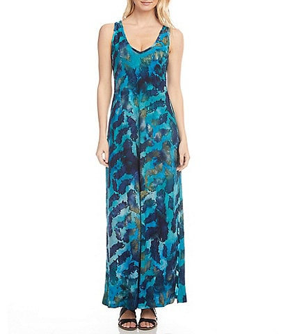 Karen Kane Burnout Tie-Dye V-Neck Sleeveless Side Slit Maxi Dress