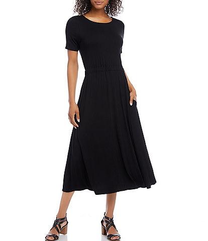 Karen Kane Cinched Waist Artisan Midi Dress