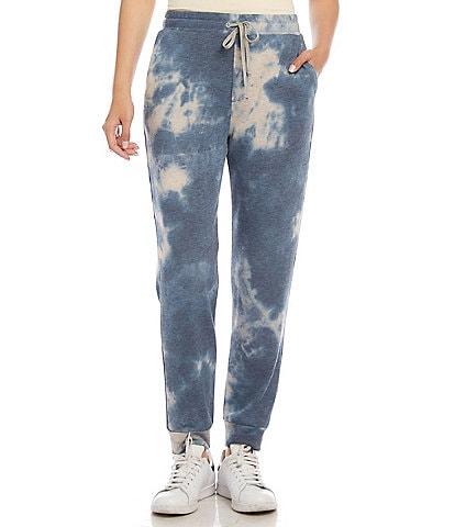 Karen Kane Cloudy Tie Dye Fleece Pull-On Drawstring Coordinating Sweatpants