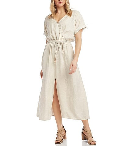 Karen Kane Cuffed Sleeve Linen Maxi Dress
