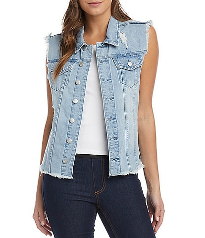 Karen Kane Distressed Point Collar Frayed Hem Denim Vest