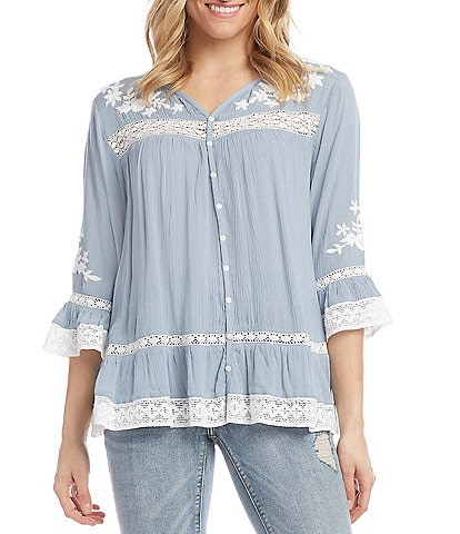 Karen Kane Embroidered V-Neck Lace Inset Flare Sleeve Top