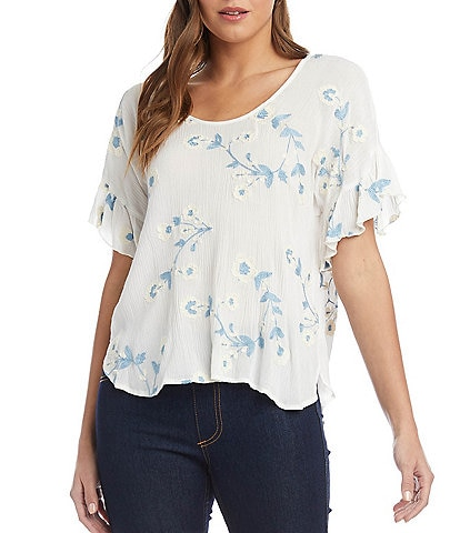 Karen Kane Floral Embroidered Scoop Neck Ruffle Short Sleeve Top