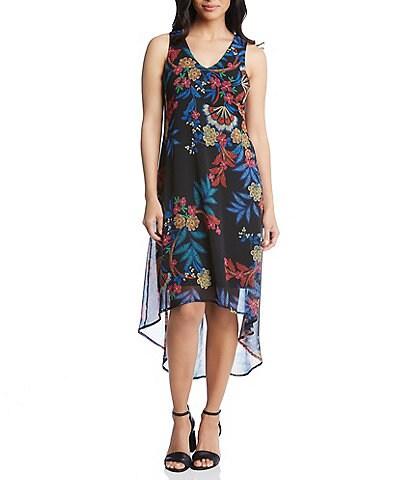 Karen Kane Floral Print Hi-Low Hem Dress