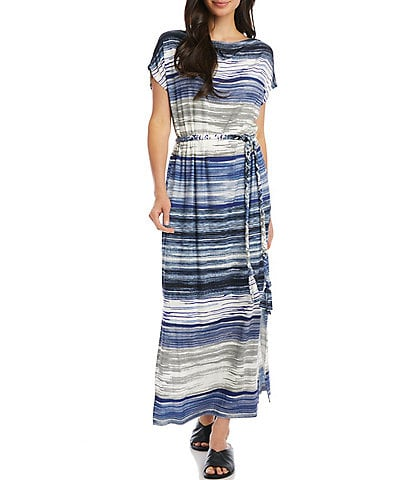Karen Kane Grecian Lightweight Stripe Tie Waist Short Sleeve Maxi Dress