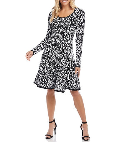 Karen Kane Jacquard Knit Abstract Print Long Sleeve Scoop Neck A-Line Dress