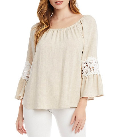 NEW PEASANT BLOUSE BEIGE LACED NECKLINE MADE IN AMERICA RUFFLED 3//4 SLEEVE