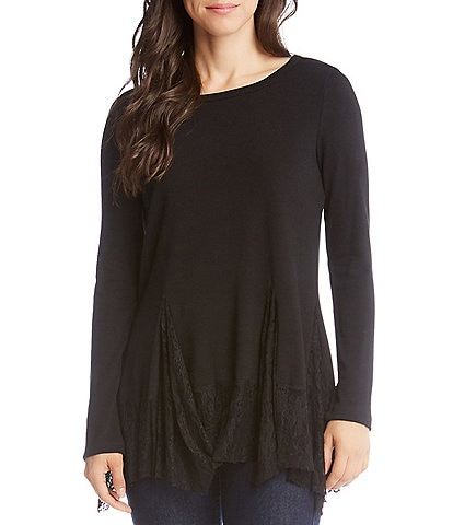Karen Kane Lace Inset Knit Tunic Top