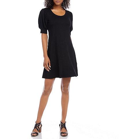 Karen Kane Petite Size Erin Scoop Neck Short Puff Sleeve A-Line Dress