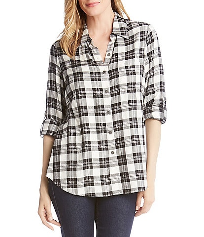 Karen Kane Plaid Roll-Tab Sleeve Button Front Shirt