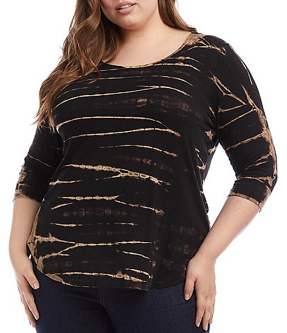 Karen Kane Plus Size Bold Tie Dye Scoop Neck 3/4 Sleeve Top