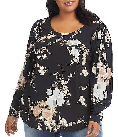 Karen Kane Plus Size Floral Print Scoop Neck Long Blouson Sleeve Top