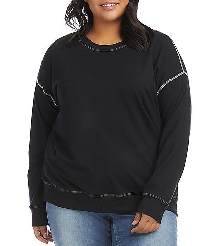 Karen Kane Plus Size French Terry Contrast Stitch Crew Neck Drop Shoulder Sleeve Pullover