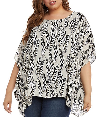 Karen Kane Plus Size Layered Short Sleeve Scarf Top