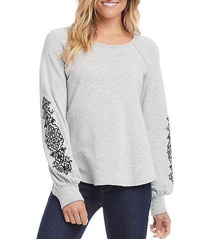 Karen Kane Print Sleeve Cozy Fleece Cuffed Sleeve Knit Top