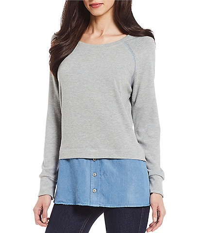 Karen Kane Raglan Sleeve Contrast Novelty Shirting Hem Knit Two-fer Sweater