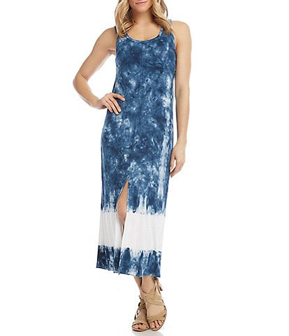 Karen Kane Scoop Neck Sleeveless Front Slit Tie Dye Midi Dress