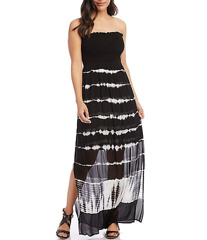 Karen Kane Strapless Smocked Tie Dye Maxi Dress