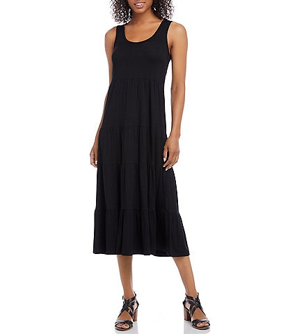 Karen Kane Stretch Jersey Sleeveless Knit Tiered Midi Dress