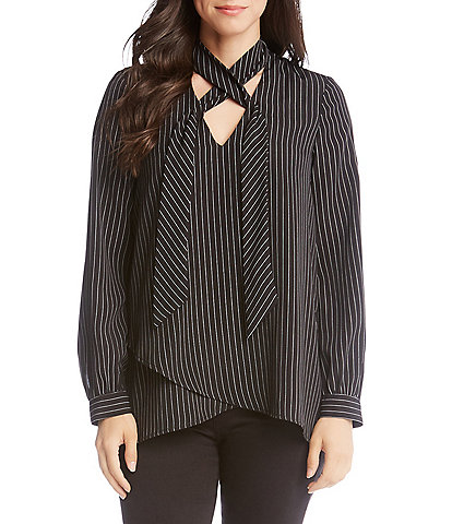 Karen Kane Stripe Tie-Neck Crossover Hi-Low Hem Top