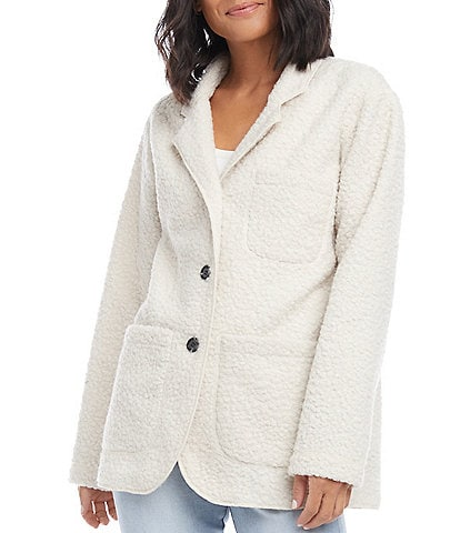 Karen Kane Teddy Boucle Patch Pocket Button Front Jacket