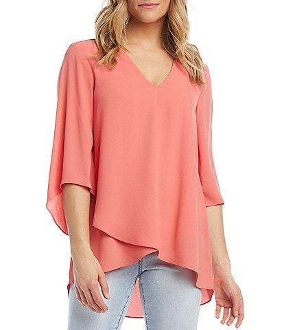 Karen Kane V-Neck 3/4 Sleeve Crossover Hem Crepe Top