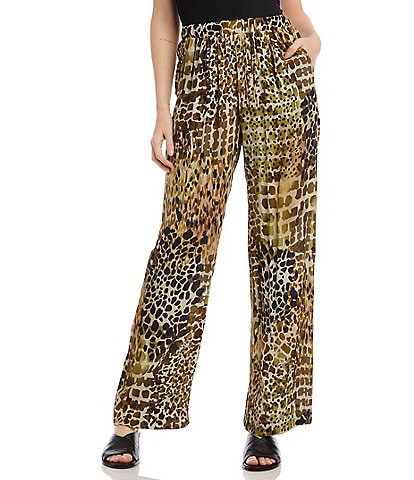 Karen Kane Wide Leg Camouflage Animal Print Lightweight Crepe Pants