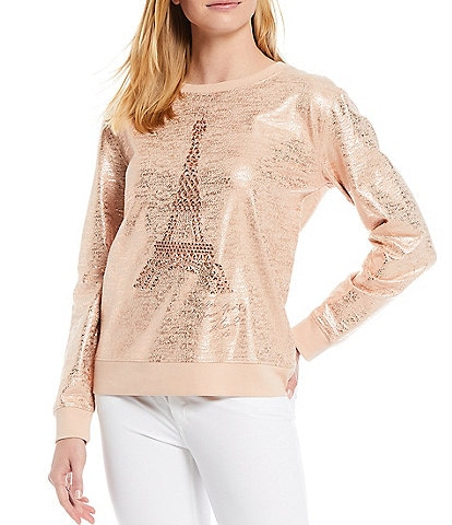 KARL LAGERFELD PARIS 3/4 Puff Sleeve Sequin Eiffel Tower French Terry Top