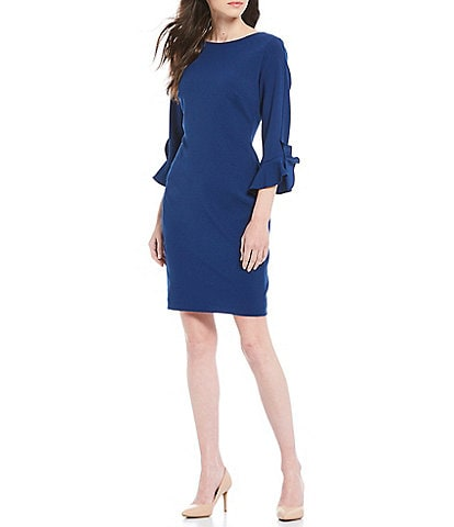 KARL LAGERFELD PARIS 3/4 Ruffle Tulip Sleeve Crepe Sheath Dress